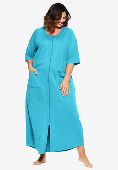 Long French Terry Zip-Front Robe by Dreams & Co.®, CARIBBEAN BLUE