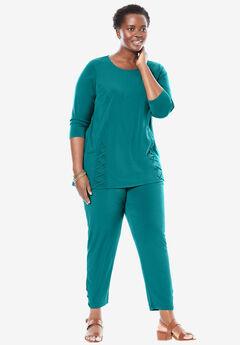 Lace-up knit pants set,