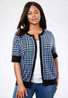 Perfect Elbow-Length Sleeve Cardigan, FRENCH BLUE GINGHAM PLAID