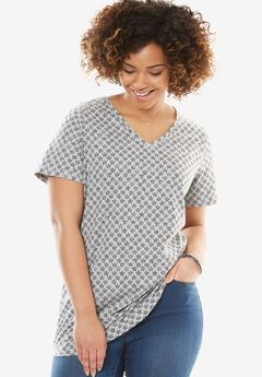 Perfect Printed V-Neck Tee, HEATHER GREY STAR, hi-res