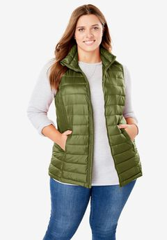 Packable Puffer Vest, FOREST GREEN