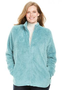 Fluffy Fleece Jacket, DUSTY TEAL, hi-res