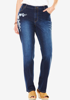 Straight Leg Stretch Jean, BLUE FOLK EMBROIDERY, hi-res