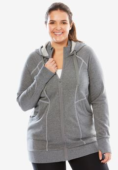 Hooded fleece jacket by fullbeauty SPORT®, GREY MELANGE, hi-res