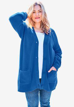 Long-Sleeve Shaker Cardigan Sweater, BRIGHT COBALT