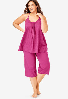 Breezy Eyelet Knit Tank & Capri PJ Set by Dreams & Co.®, BRIGHT BERRY