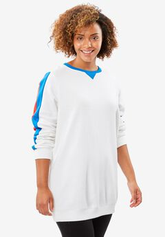 Soft knit Better Fleece sweatshirt tunic in solids and prints, WHITE MULTI STRIPE, hi-res