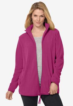 Zip-Front Microfleece Jacket, RASPBERRY