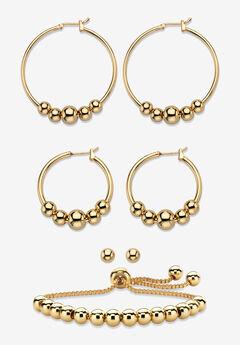 4-Piece Beaded Earrings and Bracelet Set in Goldtone,