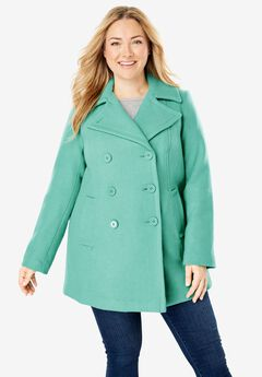Wool-Blend Double-Breasted Peacoat,