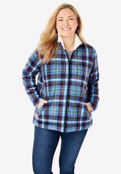 Sherpa-Lined Printed Microfleece Jacket, BLUE PLAID