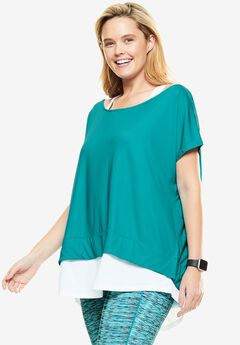 Layered look tunic by fullbeauty SPORT®, VIBRANT TURQ WHITE, hi-res