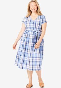 ca5f1fd63f3 Short Sleeve Seersucker Button-Front Dress