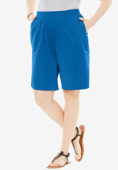 Knit shorts with scoop pockets, full elastic waist, BRIGHT COBALT, hi-res