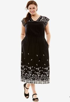 Scalloped Edge Midi Dress, BLACK EMBROIDERY, hi-res