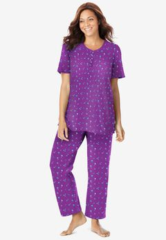 Floral Henley PJ Set by Dreams & Co.®, FRESH BERRY FLOWERS