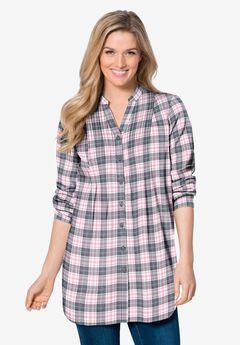 Pintucked Flannel Shirt, PINK SORBET PLAID