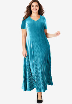 Pleated Crinkle Velour Dress,