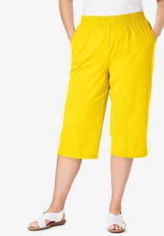 Jersey Knit Capri Pant, BRIGHT DAFFODIL