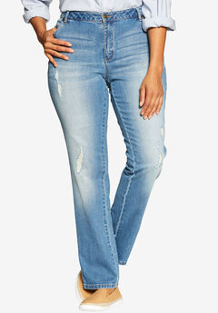 Straight Leg Stretch Jean, DISTRESSED, hi-res