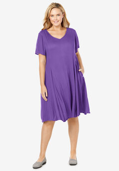 Short Crinkle Dress, PLUM BURST