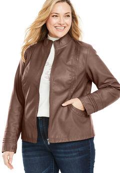 Faux Leather Pleat Jacket,