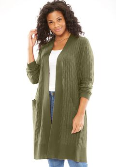 Lightweight Cabled Duster Cardigan,