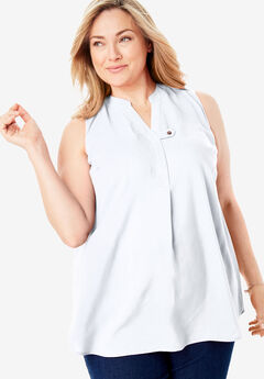 Sleeveless Tab-Front Shirt,
