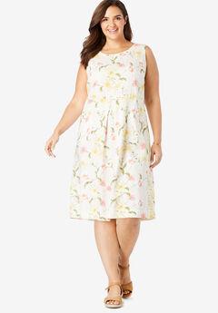 Pocketed Sleeveless Linen Dress, KHAKI FRESH FLORAL