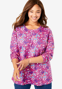 Perfect Printed Crewneck Long Sleeve Tee, RASPBERRY GRAPHIC FLORAL