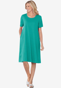 Short-Sleeve Crewneck Tee Dress, WATERFALL