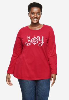 Holiday Graphic Tee, FRESH RED JOY