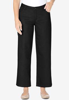 Wide-Leg Cropped Stretch Jean, BLACK DENIM