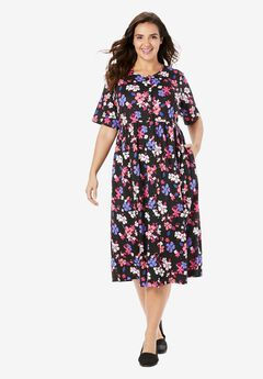 Button-Front Essential Dress, BLACK GARDEN FLORAL