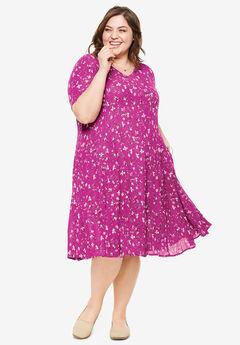 Short Crinkle Dress, RASPBERRY VINE FLORAL