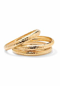 "Gold Tone Hammered 3 Piece Stack Bracelet Set (11mm), 8.5"","
