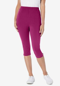 Stretch Cotton Capri Legging, RASPBERRY