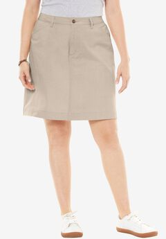 Cotton Jean Skort, NATURAL KHAKI, hi-res