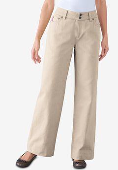 Wide Leg Cotton Jean, NATURAL KHAKI