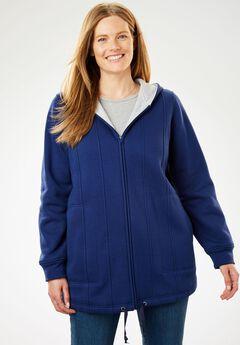 Drawstring-Hem Hooded Fleece Jacket,