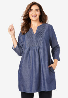 Pintuck Denim Tunic,