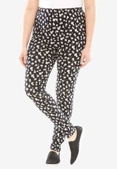 Stretch Cotton Printed Legging, BLACK PAINTED FLORAL, hi-res