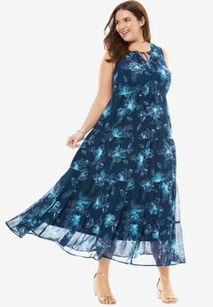 Tiered Tassel-Trim Maxi Dress, DARK PEACOCK SKETCH, hi-res