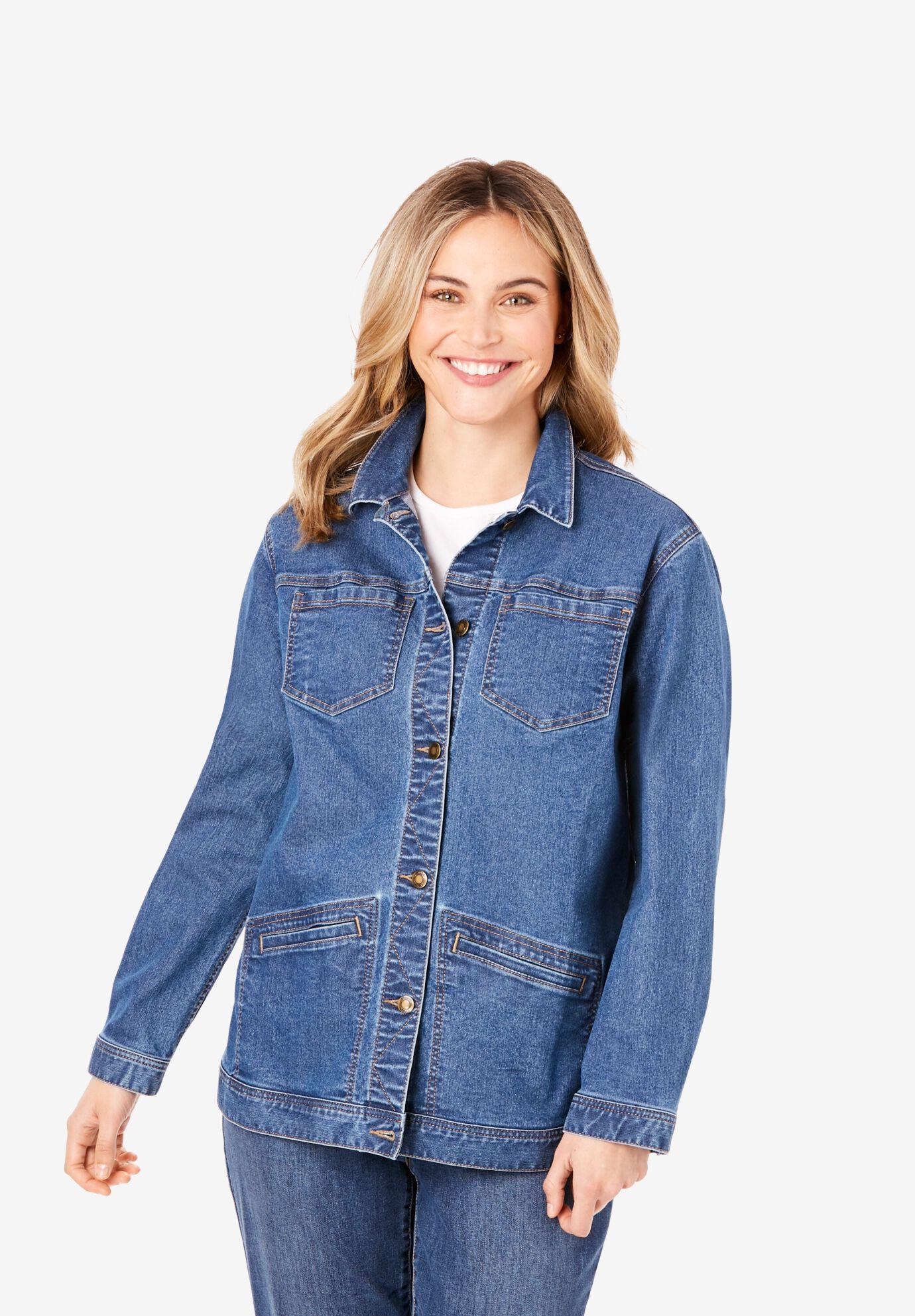 Womens Size 14 12 10 8 6 16 Stretch Fitted Denim Jacket Ladies Jean Jackets Blue