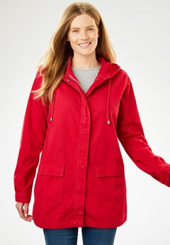 Lightweight Hooded Jacket, CHERRY, hi-res