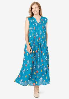 Sleeveless Pintuck Crinkle Dress, DEEP TEAL SPACED FLORAL