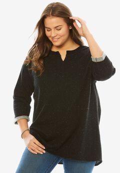 Speckled Sweatshirt, BLACK SPECKLE, hi-res
