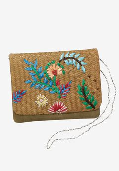 Embroidered Raffia Crossbody, MULTI, hi-res