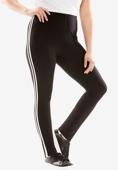 Print Leggings, BLACK WHITE