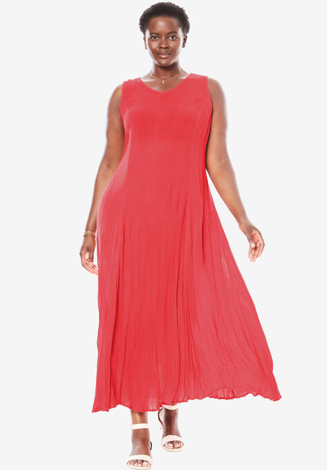 Sleeveless Crinkle A-Line Dress| Plus Size Dresses | Woman Within